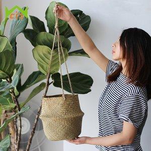 WHISM Hanging cestino del fiore della pianta del fiore Seagrass vasi decorativi Wicker Planter Flowerpot per la casa Soggiorno Camera da letto Decor Y200723