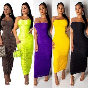 Vestidos 19ss Verão drapeado Vestido de roupa das mulheres cor sólida Doce longo Bodycon