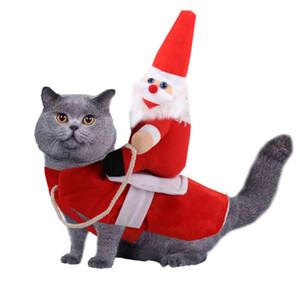 Pet Dog Cat Рождественские костюмы Забавный костюм Санта-Клауса для собак Кошки трансформированные пальто Одежда Чихуахуа Мопс Йоркширский Одежда