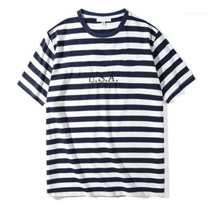 Male Tops Clothes Jeans USA Mens Striped Tshirts Summer Fashion Embroidery Designer Mens Tees Short Sleeved Loose Casual