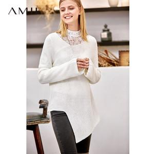 Amii Minimaliste irrégulière Pull Femme Automne Hiver élégant solide Manchette chaud Femme Pull 11830282