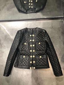 2020 donne cappotto in pelle di alta qualità Faux delle donne nero girocollo maniche lunghe Abiti De Festa w0923