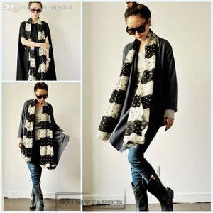 Wholesale-63*18inch 2020 New Fashion Autumn Winter Lace Chiffon Silk Scarf for Women White Dot Warm Wrap Shawl Factory Price scarf032