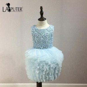 Real Photos Flower Girls Dresses for Party and Wedding O-neck Applique and Pearls Sky Blue Ball Gown Puffy Baby Girl Dresses