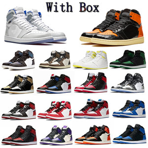 Rosa Corduroy Womens Mens OG Top Flyman 1 tênis de basquete Designers Sneakers Jumpman Multi-Cor Roxo preto cinzento Sports Com Box 36-46