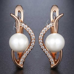 Leaf Shaped Stud Earrings For Women 585 Rose Gold Simulated Pearl Earrings Fashion Womnan Jewelry 2020 Accessories Gifts HGE172