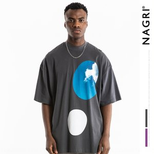 Nagri moda Kanye periférica limitada foamshoulder soltas de manga curta Kanye T-shirt da moda masculina Nagri periférica loos foamshoulder limitadas