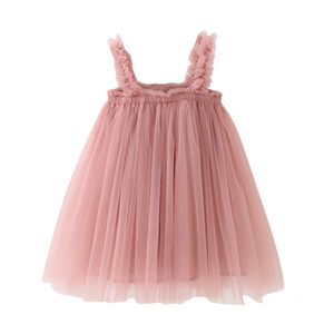 Fashion Lace Little Summer Solid Sleeveless Tulle Tutu Dress For girls elegant Princess dresses Clothes Party Pageant