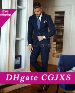Two Pieces Cheap Dark Navy Men Suits For Wedding Slim Fit Groomsmen Tuxedos Custom Made Handsome Prom Party Suit (Jacket Pants )