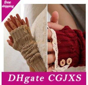 2017 Gants solides dentelle tricotée Bouton Fingerless Danse Ballet Glove Burn Out Long Arm Warmers Mitten mode 8 couleurs # 3706