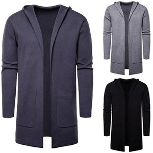 Plus Size Mid Long Male Clothes Designer Men Sweaters Solid Color Long Sleeve Mens Hooded Sweater Outerwear Casual