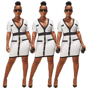 Sexy V-cou lambrissé Bouton robe moulante à manches courtes femmes Party élégante robe Bureau Lady travail Casual Mini robe blanche