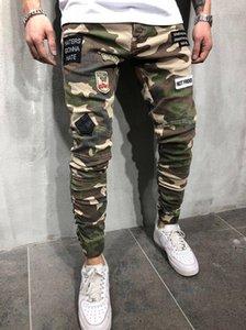 Flaco Mens largo tramo vaqueros para hombre de los pantalones del lápiz Parches manera fresca Diseñador Ejército Verde para hombre Pantalones tendencia de la moda del camuflaje