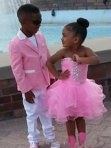 Cute Pink Baby Girls Pageant Dresses Glitz Beaded Pageant Cupcake Flower Girl Dresses Infant Mini Short Skirts Toddler Communion Dresses