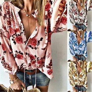 Fashion Trend Female V Neck Long Sleeve Blouses Flowers Pattern Ladies Blouses Designer New Casual Elegant Loose Lapel Neck Shirts