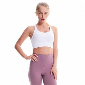 Cor sólida acolchoado Strappy Sports Bra Alto Impacto Academia soutien Push Up Bra Yoga Tops ativos usar roupas de treino para mulheres ygua #