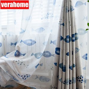Green cartoon fish tulle curtains for living room boy kids Children bedroom curtain sheer windows treatment home decoration