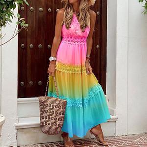 우아한 여성 프릴 여름 롱 드레스 2,020 섹시한 민소매 V 넥 사무실 숙녀 드레스 여성 도트 비치 드레스 Vestidos 인쇄하기