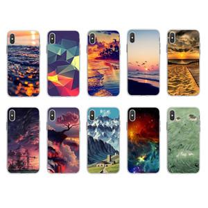Landschaft Meer Sonnenaufgang-Berg weicher TPU Fall für Iphone 12 11 Pro MAX XR XS MAX 8 7 6 SE 2020 Blumen-Spitze Rose stilvolle Art und Weise Nummer Abdeckung