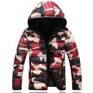 Mens winter Thick Warm Jackets Mens Fashion Casual Slim Camouflage Print Parkas Coats Boutique Cotton Liner Jackets