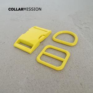 Розничная торговля (металлическая пряжка + отрегулируйте пряжку + D кольцо / набор) DIY воротник собаки желтый 25 мм стекающий швейные аксессуар набор аксессуаров