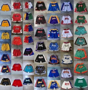 Retro Erkek Sadece Don Pocket Şort Otantik Dikişli Sweatpants Tüm İl-Takım Adı Gerileme Basketbol Şort ucuz S-XXL