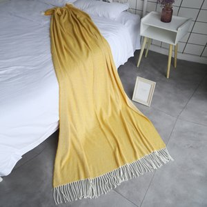 Faux Mink Cashmere Knitted Throw Blanket with Tassel Wall Tapestries Warm & Cozy for Couch Sofa Bed Beach Travel