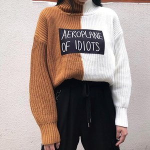 2020 New Arrival Casual Women Sweaters Korean Letter Print Female Sweater Turtleneck Panelled Patchwork Pullover 76119
