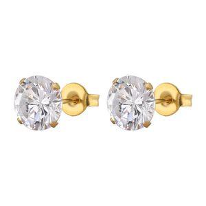 3mm-8mm Luxury Sterling Small Round CZ Zircon Push Back Stud Earrings For Women Wedding Engagement Piercing Jewelry