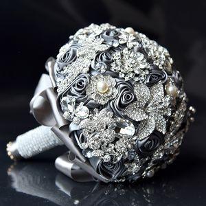Luxury Bride Bouquet Handmade Ribbon Rose And Crystal Rhinestone Brooch Jewelry Wedding Bridal Bouquets Home Decoration Wedding Flower 7