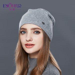 ENJOYFUR Automne Hiver épais chapeaux de laine chaude pour les femmes de bonne qualité Chapeau pour filles Casquettes Femme d'hiver