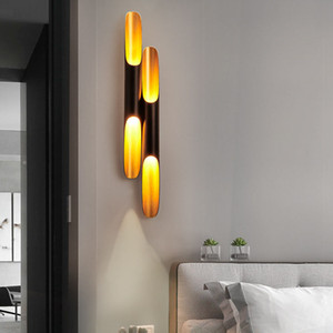 Post Modern Wall Light Lamp Sconce LED up down Aluminum Pipe Wing 2 Wall Lights black golden wall lamp light Bedroom