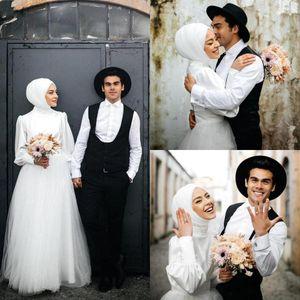 Middle East Dubai Arabic Muslim Wedding Dresses 2021 High Neck Elegant Satin Top Long Sleeve Tulle A Line Floor Length Bridal Gowns
