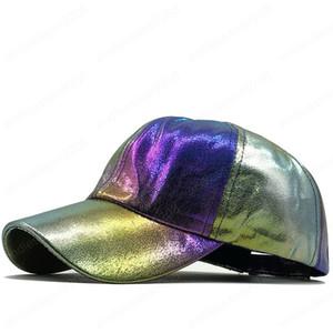 미래를 소유 빅뱅 야구 모자에 모자 PU 파티 모자로 돌아 가기를 변경 레인보우 컬러 패션 힙합 모자