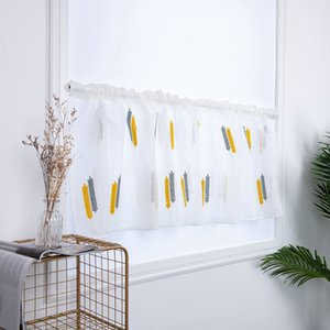 New Embroidered Wheat Spike Semi Tier CurtainRod Pocket Home Decor, Short Curtain For Kitchen Bathroom Living Room