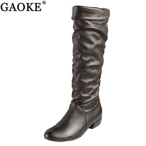GAOKE Large size 2020 new arrive Knee high Women Boots Black White Brown flat heels half boots spring autumn shoes woman