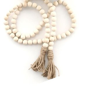 Natural Wooden Tassel Bead String Chain Hand Made Wood Farmhouse Decoration Beads with Tassel Hemp Rope Home Decor Hanging