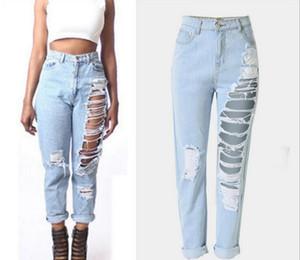 Venda Hot Ladies Cotton Denim tornozelo comprimento calças stretch Buraco Womens Bleach rasgado solto Nona calças jeans por Mulher