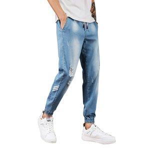 Peikong Männer Frühlings-Sommer-elastische Taille Regular-Fit Tide Hip Hop Freizeit getragen gerissen schwarze Herren Denim Jeans Teenager strecken
