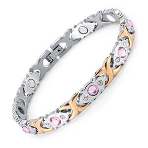 Weiblicher Armband glänzender Kristall Edelstahl Mode Gesundheit Schmuck Magnetische Hologram-Armband-Charme-Ketten-Verbindungs-Armband