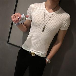 Summer T Shirt Men Sexy Hollow Short Sleeve V-Neck T-shirt Nightclub Party Streetwear Slim Fit Casual Tshirt Camiseta Masculina 0921