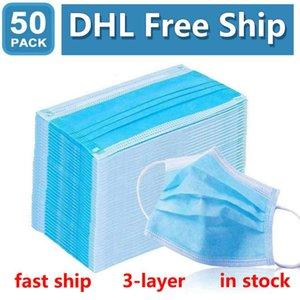 DHL Free Ship2020Hotsell Одноразовые маски Защита и личная медицинская маска 3-слойный Женщины Мужчины Face Cover с ушной Mouth Санитарные Маски