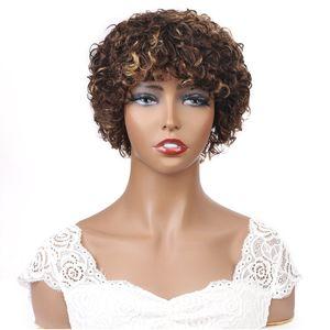 ISHOW Короткие парики Бразильский Девы волос 4/27 Big Curl Ombre Цвет Curly человеческих волос Парики с Челка Цветные завитые Bangs 8Inch