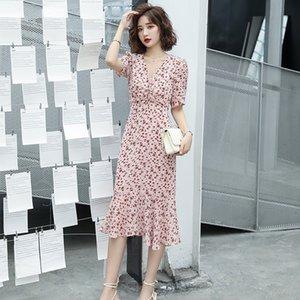 5TQiB 2020 Kleid fishtail Rock bId71 Blumen Kleidung der Frauen in Hangzhou Sommer eleganter V-Ansatz dünner neuen fishtail Rocksommer