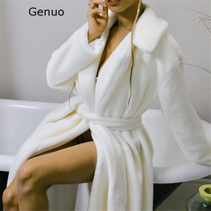 Genuo Nuovo 2020 Bianco Faux Fur Coat Orsacchiotto rivestimento delle donne Fluffy inverno oversize lungo Shaggy Cardigan caldo Trench