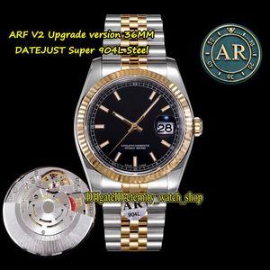 V2 버전 ARF Datejust 36mm 116233 904L 스틸 케이스 CAL.3135 자동 126233 126234 망 시계 블랙 다이얼 2 톤 쥬얼리 스트랩 시계
