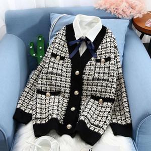 Nueva tela escocesa de punto de contraste suéter de las rebecas de las mujeres con cuello en V solo pecho Bolsillos suéteres 2020 otoño señora ocasional Coats CX200810