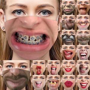 personnalité 3D drôle Exagération Masque Visage Mode Impression Expression antipoussière Masques de coton réglable lavable Masque réutilisable LL143