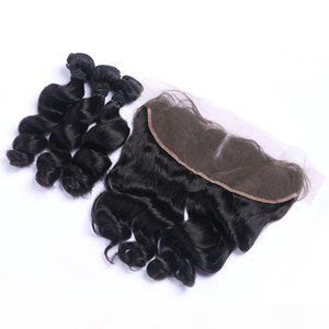 Loose Wave Brazilian Virgin Hair Lace Frontal With 3 Human Hair Bundles 13X4 Ear To Ear Lace Frontal Human Hair Weaves Closure
