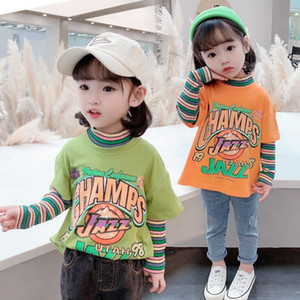 kids  clothes girls2020 Spring and Autumn New Korean style striped stitching fake two-piece T-shirt base shirt girls' letter top